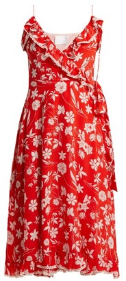 Athena Procopiou - Farah Floral Print Silk Wrap Dress - Womens - Red Multi