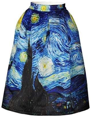 Hamrank Van Gogh Starry Night Skater Skirt Quiet Nights Mini Skirt for Women Girl Blue M