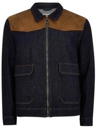 Topman Mens Navy Denim Harrington Jacket with Faux Suede