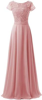 EDressy Lace Long Evening Dresses Chiffon Short Sleeves Prom Cocktail Gowns Maxi Bridesmaid Dress