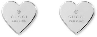 Gucci Jewel Trademark Heart Earrings Rhodium Plated 925 Silver