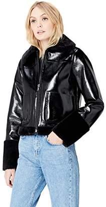 FIND Women's Jacket in Vinyl and Faux Fur,(Manufacturer size: Medium)