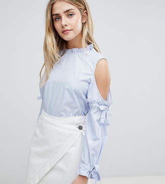 boohoo Striped Cold Shoulder Tie Sleeve Blouse