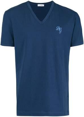 Dolce & Gabbana V-neck monogram T-shirt