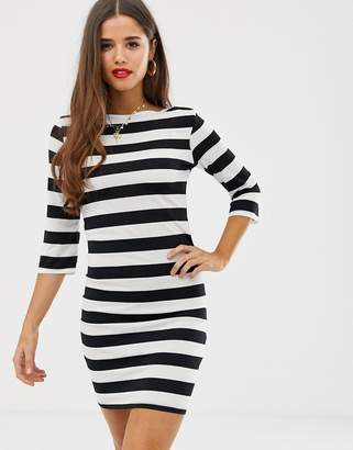 Jdy JDY three quarter sleeve striped jersey dress