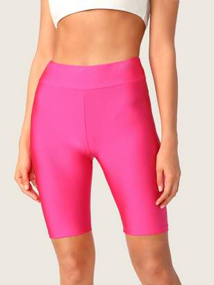 Shein Neon Pink Elastic Waist Cycling Shorts