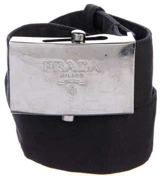 Prada Woven Logo Belt
