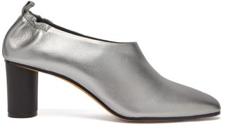 Gray Matters - Micol Block Heel Leather Pumps - Womens - Silver