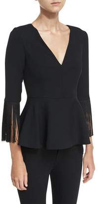 Prabal Gurung Fringed V-Neck Peplum Top