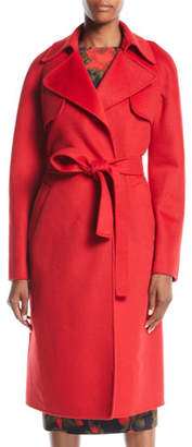 Michael Kors Double-Face Cashmere Melton Trench Robe Coat