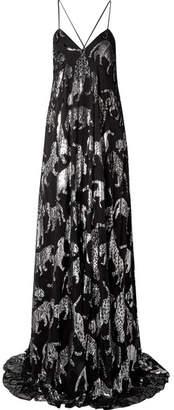 Carolina Herrera Metallic Fil Coupé Chiffon Gown - Black