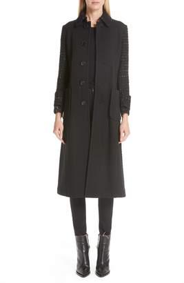 Comme des Garcons Wool & Tweed Combo Long Knit Coat