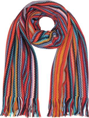Missoni Red/Multicolor Wool Blend Fringed Men's Long Scarf