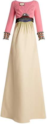 UFO-embroidered wool-blend gown