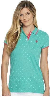 U.S. Polo Assn. Stretch Pique Dot Print Polo Shirt Women's Clothing