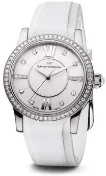 David Yurman Classic 34MM Rubber Swiss Quartz Watch with Diamonds