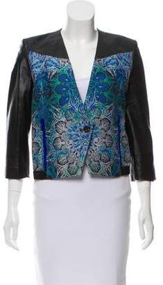Helmut Lang Leather-Trimmed Patterned Jacket w/ Tags