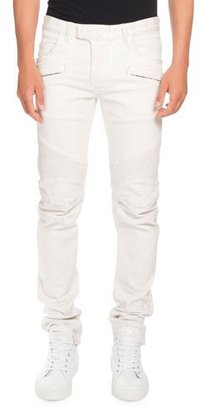 Balmain Skinny Stretch-Denim Biker Jeans, White $1,475 thestylecure.com