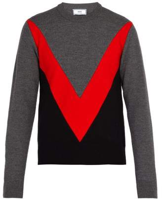 Ami Chevron Panelled Merino Wool Sweater - Mens - Grey Multi