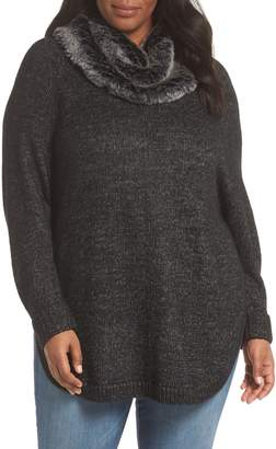 Sejour Curved Hem Sweater with Detachable Faux Fur Collar