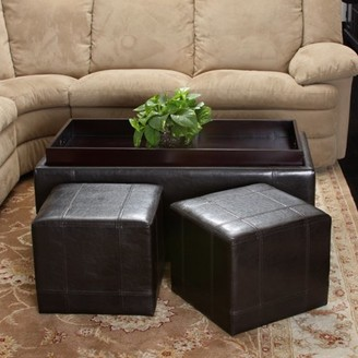 Noble House Tray Top Brown Bonded Leather Nested Ottomans (Set of 3)