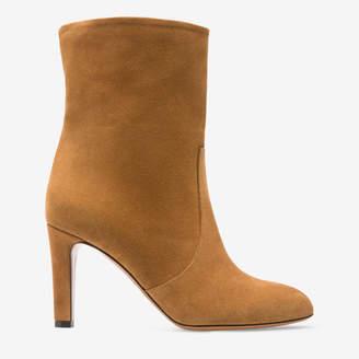 Bally Bellis Brown, Women's cow suede short boot with 85mm heel in cowboy