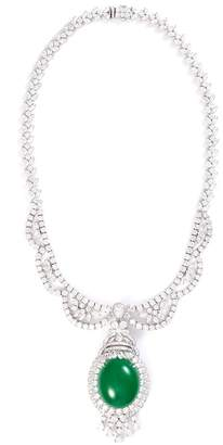LC Collection Jade Diamond jade 18k white gold pendant necklace