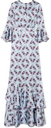Erdem Venice Ruffle-trimmed Silk Gown - Blue
