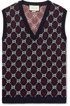8f0b31de414 Gucci Slim-Fit Logo-Jacquard Wool Sweater Vest