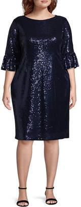 BLU SAGE Blu Sage 3/4 Sleeve Sequin Dress - Plus