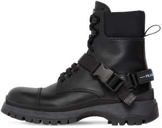 Prada 30mm Leather & Neoprene Combat Boots