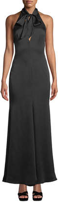 Fame & Partners The Ace Self-Tie V-Neck Satin Gown