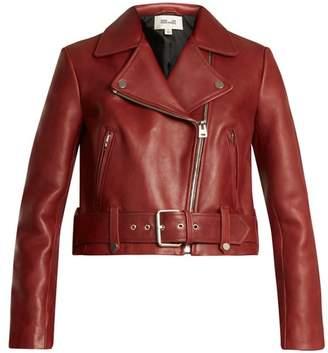 Diane Von Furstenberg - Cropped Leather Biker Jacket - Womens - Burgundy
