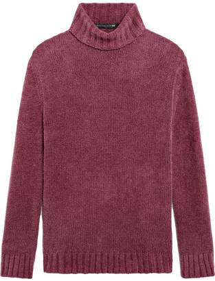 MACKINTOSH 0003 Aubergine Cotton Blend Chenille 0003 Turtle Neck Sweater