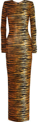 Alexandre Vauthier Tiger-print Stretch-jersey Gown - Brown