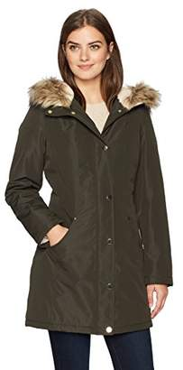 Lark & Ro Amazon Brand Women's Mid-Length Anorak Parka with Faux-Fur Hood