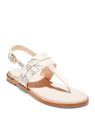 Cole Haan Ainslee Grand Snake-Print T-Strap Sandals