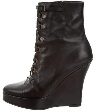Opening Ceremony Leather Wedge Ankle Boots