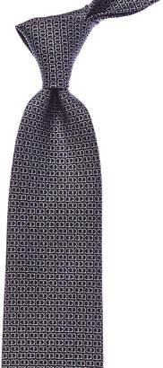 Salvatore Ferragamo Navy Gancini Silk Tie