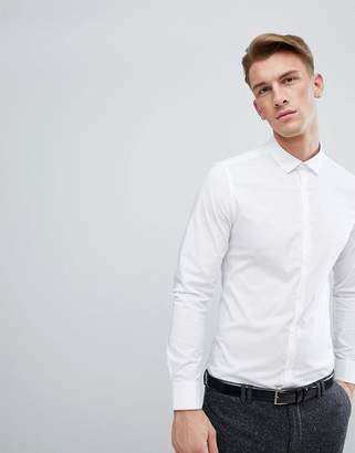 Asos Design Stretch Slim Formal Work Shirt With Double Cuff In White