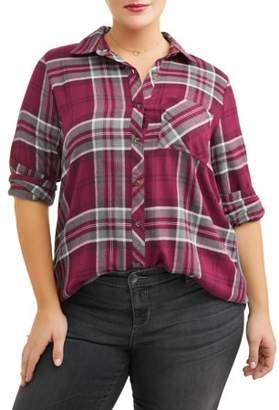 Angels Women's Plus Size Plaid Mixed Media Tunic Shirt