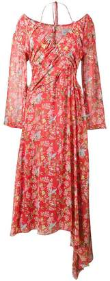 Preen by Thornton Bregazzi Corinne Floral Print Off-Shoulder Halterneck Dress