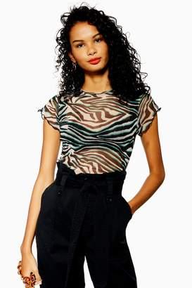 002fde9c5f1 Topshop Womens Tall Zebra Mesh Top - Black