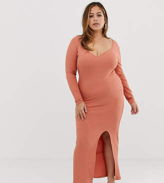 Asos DESIGN Curve rib maxi dress with sweetheart neck and split