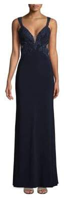 Betsy & Adam Embellished Open Back Gown