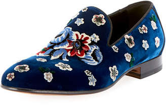Alexander McQueen Men's Floral-Embroidered Velvet Formal Slippers