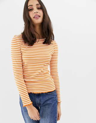 Only Bella stripe ribbed long sleeved t-shirt