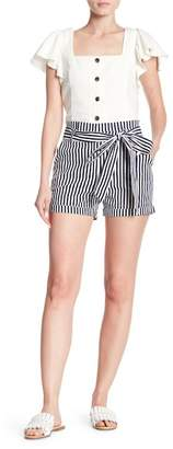 ALPHA & OMEGA Erica Belted Striped Shorts