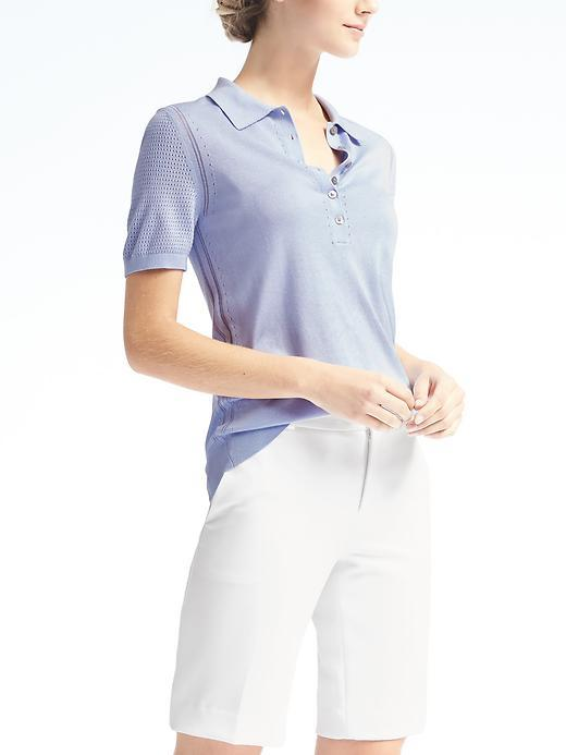 Banana Republic  Silk Cotton Pointelle Polo