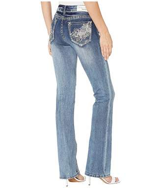 Grace in LA Mid-Rise Bootcut Feather Jeans in Medium Blue